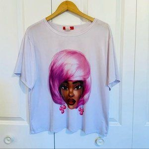 Rainbow Girl With Pink Hair Graphic T Shirt XL